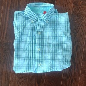 Causal white and light blue button down